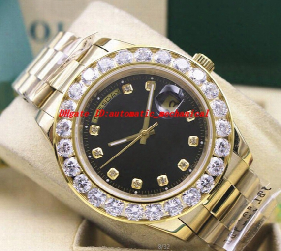 Luxury Wristwatch 18k Yellow Gold Black Dial 41mm18038 Bigger Diamond Bezel Automatic Mechanical Men Watches Top Quality