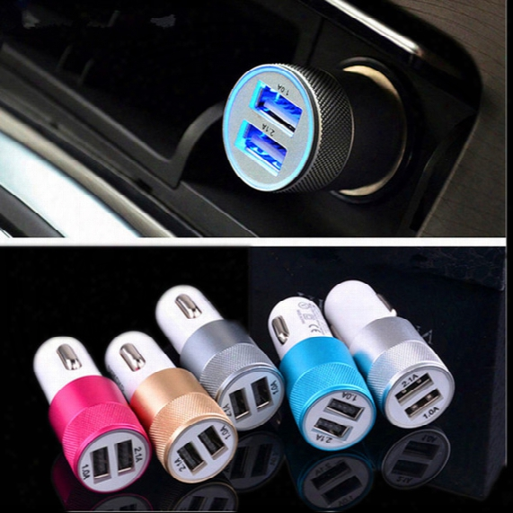 New Arrived Dual Usb Port Car Charger Phone Charger Universal 12 Volt 2.1 A Oem For Apple Iphone Ipad Samsung Galaxy Lg