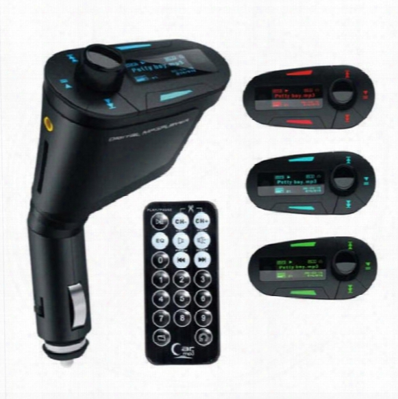 New Car Kit Mp3 Player Wireless Fm Transmitter Modulator Wma Wireless Usb Sd Mmc Lcd With Remote Blue/red Light