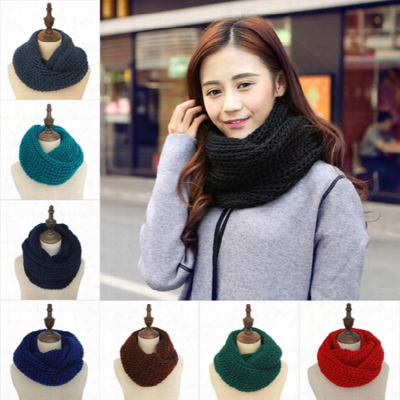 New Fashion Women's Girl's Ring Scarf Scarves Wrap Shawls Warm Knitted Neck Circle Cowl Snood For Autumn Winter Free Shipping