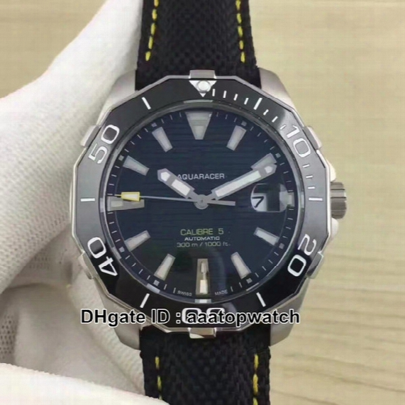 New Luxury Brand Aquaracer 300m Calibre 5 Way211a.fc6362 43mm Black Dial Men's Automatic Watch Leather Strap Gents Best Sport Watches
