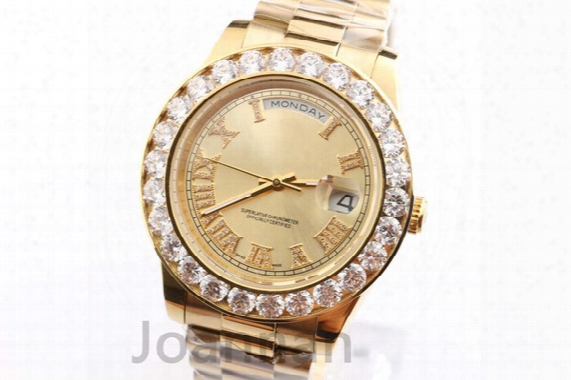 New Luxury Mens Watch Aaa Big Diamond 18k Gold Face Full Stainless Steel Original Strap Automatic Movement Mens Watches