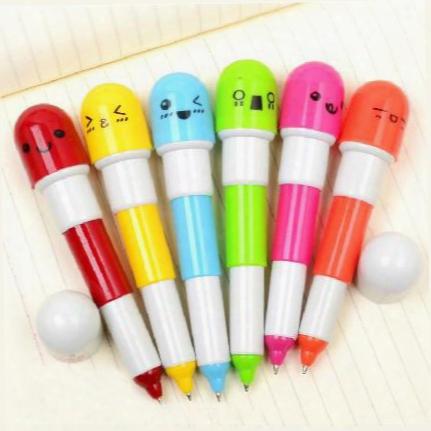 Office Supplies Retractable Ball Point Pen/ Cartoon Telescopic Face Vitamin Capsule Pills Ballpoint Pen