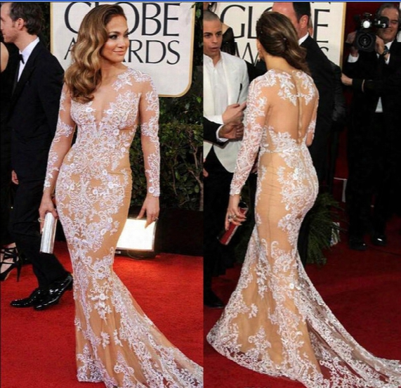 Oscar Zuhair Murad Celebrity Evening Dresses Mermaid 2017 Lace Beauty Red Carpet Prom Dress Champagne Lining And White Lace New Arrival