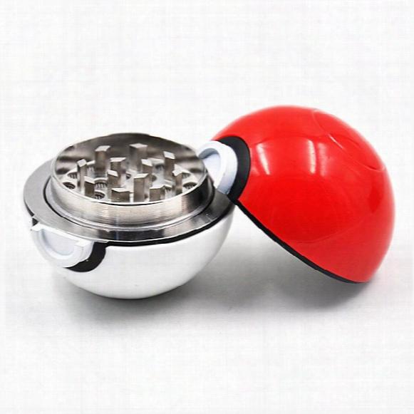 Pokeball Herb Grinder 55mm Poke Ball Metal Tobacco Grinders Herb Grinders Zinc Alloy Plastic 3 Parts Smoking Accessories