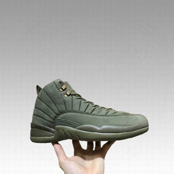 Psny Retro 12 Men Sneakers Milan Olive Bzsketball Shoes Best Trainings Green Mid Cut Genuine Leather Carbon Fiber