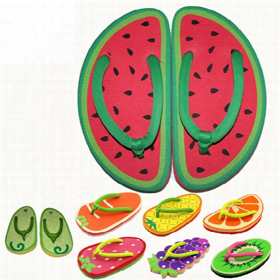 Summer Cartoon Fruit Slippers Cute Girl Flip Flops Sandals 9 Styles Pineapple Strawberry Watermelon Beach Flat Flip B1211