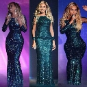New Green Beyonce Glittery Sequined Long Sleeve Evening Dresses Mermaid Long Celebrity Dresses Sexy Floor Length Sequined Red Carpet Dress