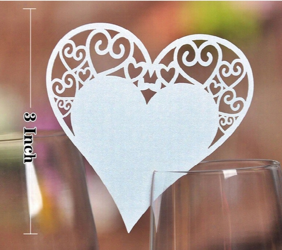 White Laser Cutting Glass Cards Wedding Decoration 100 Piece / Lot Pretty Hearts Shaped Wedding Table Seat Cards Wedding Party Decoration
