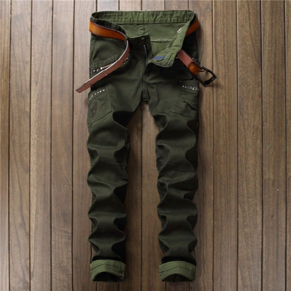 Wholesale- 2017 Mens Skinny Ripped Biker Jeans Multi Pockets Cargo Pant Army Green Mens Pleated Pencil Jeans