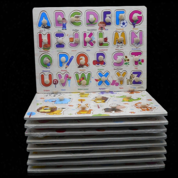 Wholesale- 30 Cm Kid Early Educational Toys Baby Hand Grasp Wooden Puzzle Toy Alphabet And Digit Learning Education Child Wood Jigsaw Toy