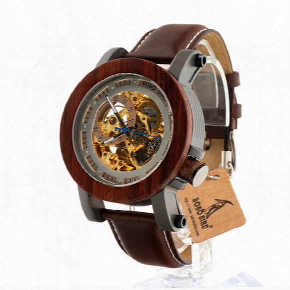 Wholesale- Bobo Bird K12 Automatic Mechanical Watch Classic Style Luxury Men Analog Wristwatch Bamboo Wooden With Steel In Gift Wooden Box