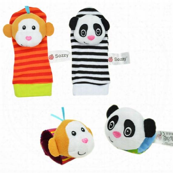 Wholesale- Sozzy Baby Infant Toy Cute Cartoon Soft Handbells Hand Wrist Strap Rattles/animal Socks Developmental Toys Educational Toys Gift