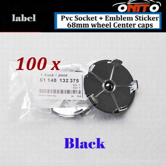 100pcs Car Wheel Hub Emblem Cover Auto Wheel Center Logo Cap Pvc Badge Best Price Decal For Full Black 68mm Label Epoxy Resin