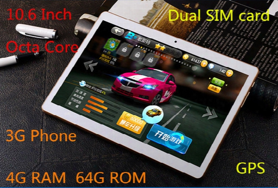 10.6 Inch Tablet, Mtk8382 Chip, Octa Core Processors, Ips Screen, 4g Ram + 64gb Rom Storage,3g Phone, Dual Sim Card, Call 64gb Memory Card