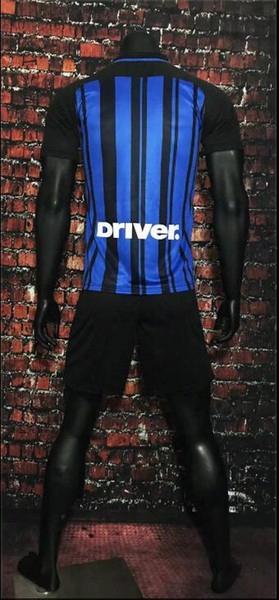 17 18 Inter Home Blue Black Soccer Jersey Kits Jovetic Icardi Palacio Kondogbia Medel Candreva Milan Football Shirts Outdoor Games