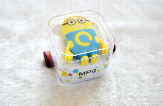 2015 Colorful Despicable Me Minion Style Mp3 Player+usb+earphone+crystal Box Mini Rechargeable Mp3 W/tf Card Slot
