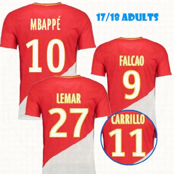2017 18 Home Monaco Jersey Soccer Shirts Falcao Carrillo Fabinho 10 Jovetic Soccer Jerseys 17 18 Jemerson As Monaco Jersey Football Shirt