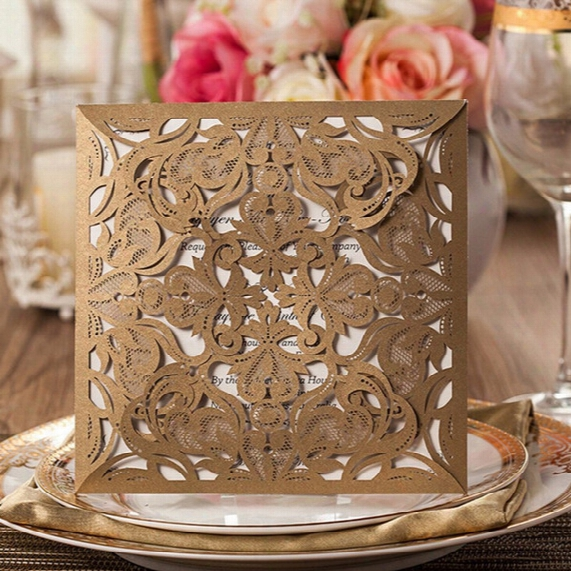2017 Hot Selling Hollow Out Laser Cut Wedding Invitations Cards Hollow Personalized Engagement Invitation Cards With Envelope Dhl Free
