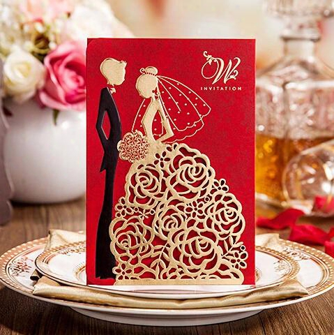 2017 New Personalized Wedding Invitations Cards Red Color With Hollow Lace Gold Dress Bridal And Groom Laser Cut Party Cards Fast Shipment