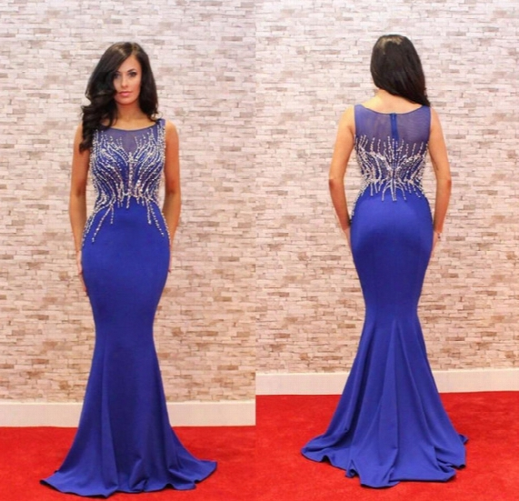 2017 Royal Blue Sexy Plus Size Prom Dresses Heavy Beading Mermaid Red Carpet 2017 Satin Floor Length Formal Evening Dresses