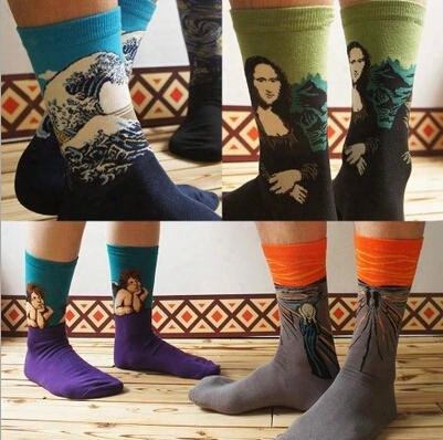 24pcs=12pair New Vintage Abstraction Oil Painting Series Mona Lisa Cupid Cartoon Cotton Men's Stocking Brand Sport Socks 24pcs/lot