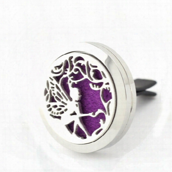 30mm Magnetic 316l Stainless Steel Flower Fairy Car Perfume Locket Crystal Car Aroma Essential Oil Diffuser Locket With Free Pads
