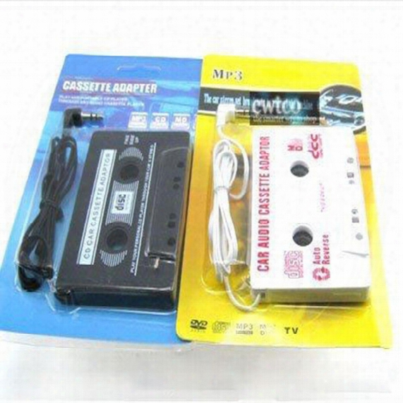 3.5mm Universal Car Audio Cassette Adapter Audio Stereo Cassette Tape Adapter For Mp3 Player Phone Black 50pcs/lot Free With Retail Package