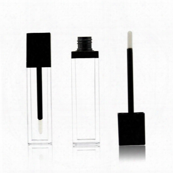 8ml Square Shape Acrylic Transparent Lip Gloss Tube Mascara Tube With Black Lid Empty Tube Fast Shipping F2017578