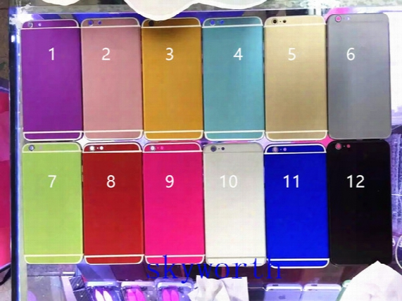 Brand New Iphone 6 6s 6s+ Plus 4.7 5.5 Battery Aluminium Back Housing Cover Replacement With Side Buttons Sim Card Tray 12 Colors With Logo