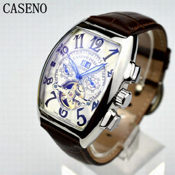 Caseno Automatic Mechanical Men Watch Fashion Skeleton Leather Military Watch Mens Hong Kong Top Brand Luxury Tourbillon Watch Classic Men
