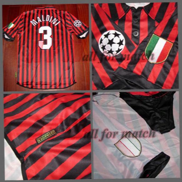 Champions League 99/00 Ac Centenary Match Worn Player Issue Shirt Jersey S/s Maldini Shevchenko Football Rugby Custom Patches Sponsor