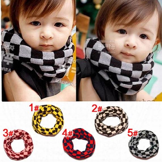 Children Scarf Fashion Classical Plaid Boy Girl Ring Scarf Winter Check Shawl Unisex Knit Wool Collar Neck Warmer Baby Neckerchief C1736