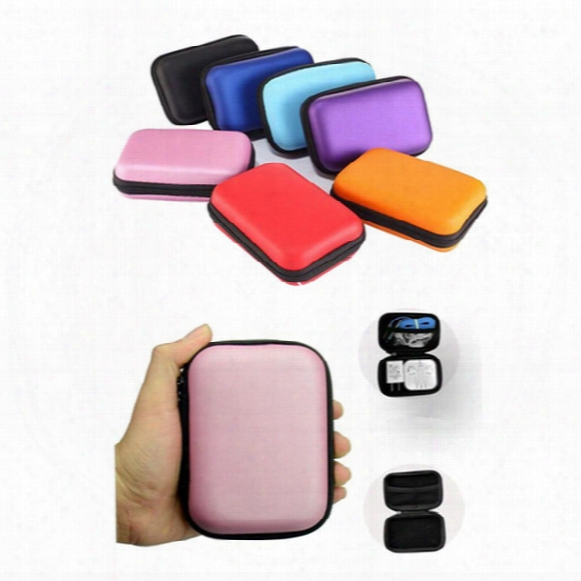 Colorful Headphone Storage Carrying Bag Rectangle Zipper Earpphone Earbud Eva Case Cover For Usb Cable Key Coin Free Dhl
