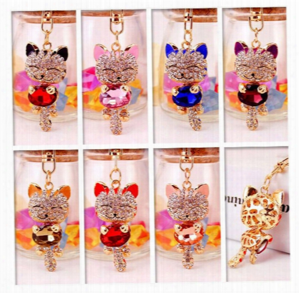 Dhl Free Lucky Smile Cat Crystal Rhinestone Keyrings Key Chains Holder Purse Bag For Car Christmas Gift Keychains Jewelry  Llaveros