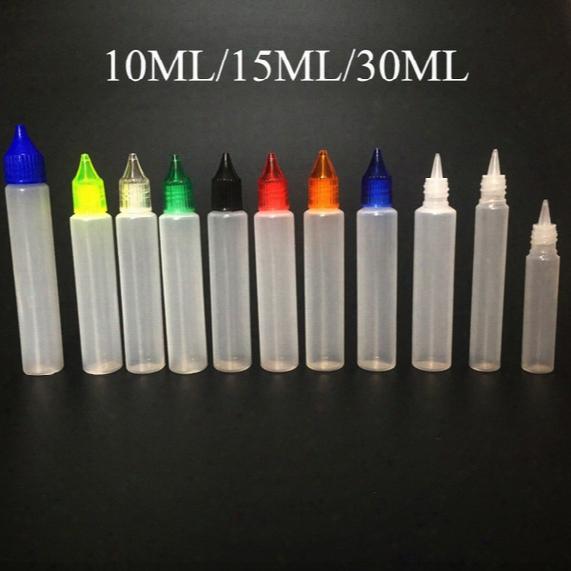 E Liquid Bottle10ml 15ml 30ml Pet Plastic Dropper Bottle Opener Tips For E Cig Vapor Carbon Water Bottle Cage