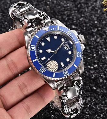 Fashion Classic Black-out Skull Bracelet Import Automatic 41mm Sea Unisex Mens Watch
