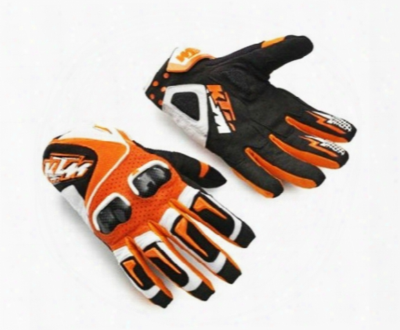 Free Shipping Ktm Genuine Carbon Fiber Motocross Gloves/ Racing Gloves / Riding Gloves Orange Ktm Gloves