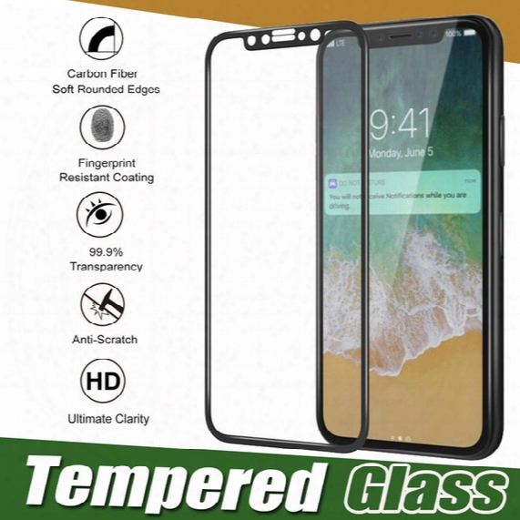 Glossy Carbon Fiber 3d Curved Edge Tempered Glass Screen Protector 9h Full Screen Anti-scratch Film For Iphone X 8 7 Plus 6 6s Samsung S8 S7