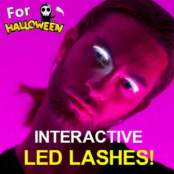 Halloween Decorations Led Eyelashes Eyelid False Eyelashes Icon Saloon Pub Club Cool Luminous Fake Eyelashes Led Blinking Mascara Lamp Dhl