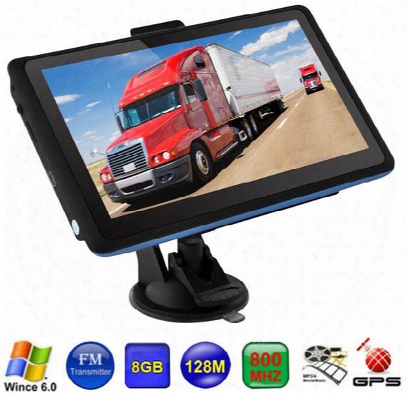 Hd 7 Inch Car Truck Gps Navigation Sdram128m 800mhz Wince 6.0 Fm Transmitter Vehicle Navigator 8gb Igo Primo Maps
