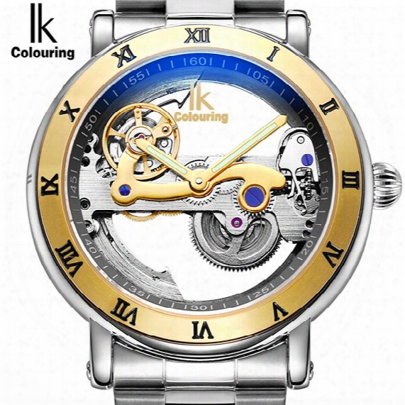 Ik New Roman Numerals Skeleton Automatic Mechanical Watch Hollow Wrist Mens Watch Business Fashion Steel Top Brand Luxury Watch For Mens
