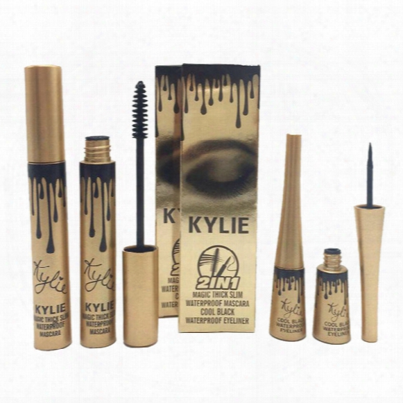 Kylie Mascara Eyeliner Liquid 2 In 1 Makeup Set Black Color Cosmetic In Stock Retail Package Dhl Free