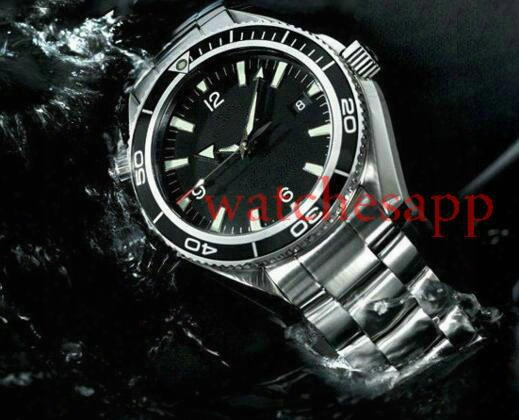 Luxury New James Bond 007 Automatic Black Dial Orange Bezel Stainless Bracelet High Quality Mens Watch Men Sport Watches