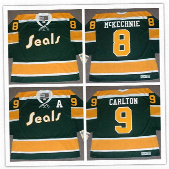 Mens California Golden Seals #8 Walt Mckechnie Throwback Hockey Jerseys Stitched 1970s Green #9 Wayne Carlton Seals Vintage Jersey S-3xl