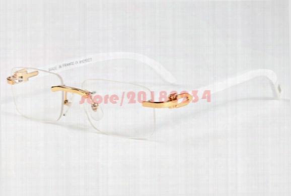 New Trendy Retro Rectangle Sunglasses Buffalo Horn Glasses For Men Rimless Wooden Carved Glasses Women Gold Bamboo Carving Eyewear Frames