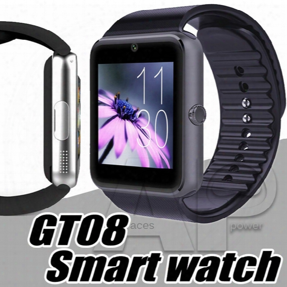 Smart Watches Gt08 Bluetooth Smartwatch Connectivity For Iphone Android Phone Smart Electronics With Sim Card Push Messages With Package