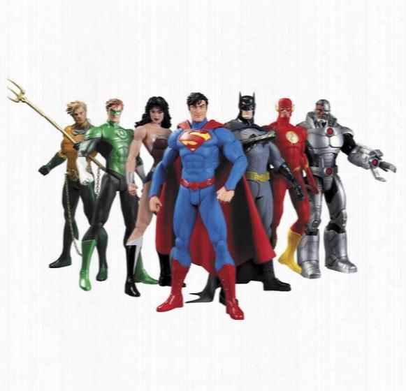 Super Hero Wonder Woman Superman Flash Cartoon Batman Action Figure Action Figures 6.69inch Cartoon Figures 7pcs/sets Dhl Shipping