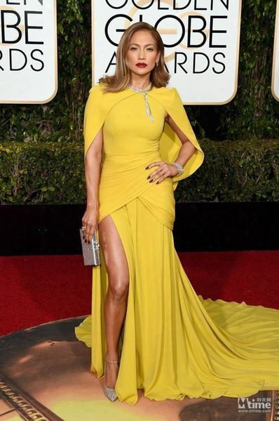 The 73rd Golden Globe Awards Celebrity Dresses 2016 Yellow Mermaid Split Side Evening Dresses High Neck Shawl Red Carpet Formal Prom Dress