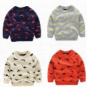 Lovely Cartoon Pullover for Kids Animal Dinosuar Jacquard Sweaters 4 Colors Selection Gray Beige Orange Dark Blue